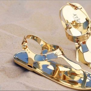 Michael Kors Gold Jelly Thong Sandals Size 7